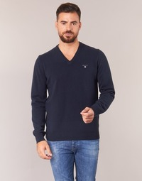 7212a43be1dd Υφασμάτινα Άνδρας Πουλόβερ Gant SUPER FINE LAMBSWOOL V-NECK Marine