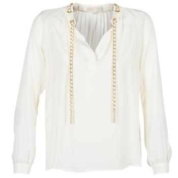 Υφασμάτινα Γυναίκα Μπλούζες MICHAEL Michael Kors SLIT L/S CHAIN Κρεμ