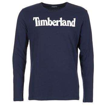 Υφασμάτινα Άνδρας Μπλουζάκια με μακριά μανίκια Timberland LINEAR LOGO PRINT RINGER MARINE