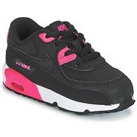 Παπούτσια Κορίτσι Χαμηλά Sneakers Nike AIR MAX 90 LEATHER TODDLER Black / Ροζ
