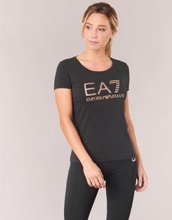Υφασμάτινα Γυναίκα T-shirt με κοντά μανίκια Emporio Armani EA7 TRAIN LOGO SERIES GLITTER Black / Dore / Ροζ