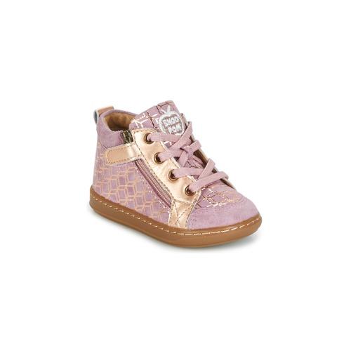 Παπούτσια Κορίτσι Ψηλά Sneakers Shoo Pom BOUBA BI ZIP ροζ / Cuivré