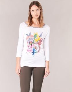 Υφασμάτινα Γυναίκα Μπλουζάκια με μακριά μανίκια Desigual TERON Άσπρο
