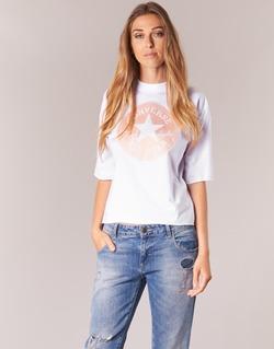 Υφασμάτινα Γυναίκα T-shirt με κοντά μανίκια Converse SATIN CP MOCK NECK TEE Άσπρο