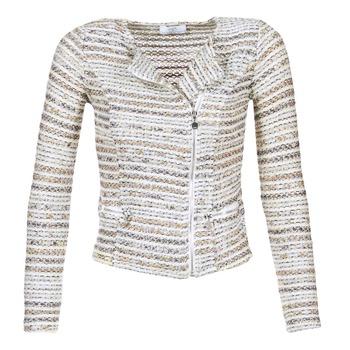Υφασμάτινα Γυναίκα Σακάκι / Blazers Le Temps des Cerises MIRABEAU Beige / Άσπρο