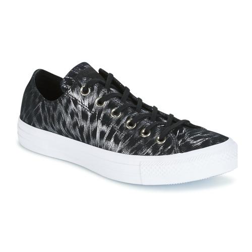Παπούτσια Γυναίκα Χαμηλά Sneakers Converse CHUCK TAYLOR ALL STAR SHIMMER SUEDE OX BLACK/BLACK/WHITE Black / άσπρο