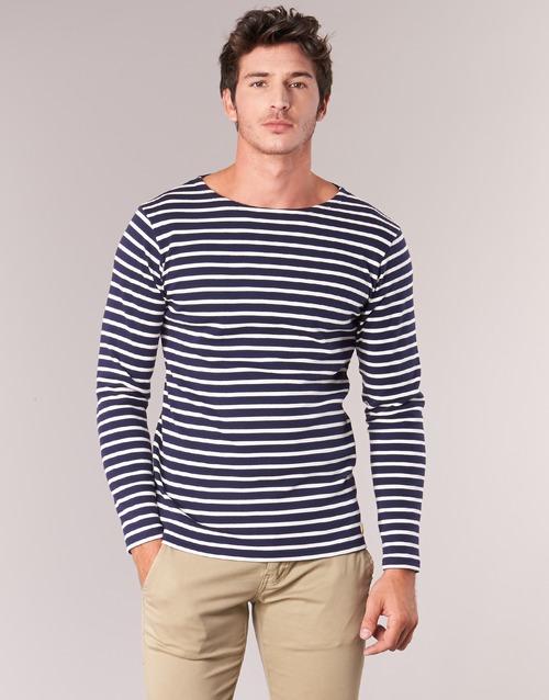 Υφασμάτινα Άνδρας Μπλουζάκια με μακριά μανίκια Armor Lux GELGA Marine / Άσπρο