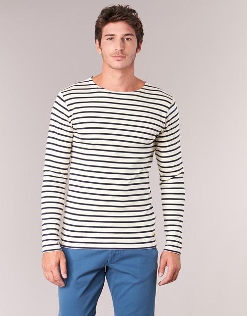 Υφασμάτινα Άνδρας Μπλουζάκια με μακριά μανίκια Armor Lux GELGA Άσπρο / Marine