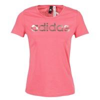 Υφασμάτινα Γυναίκα T-shirt με κοντά μανίκια adidas Performance FOIL LINEAR Ροζ