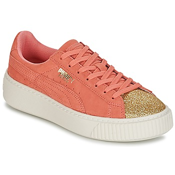 Παπούτσια Κορίτσι Χαμηλά Sneakers Puma SUEDE PLATFORM GLAM JR Orange / Gold
