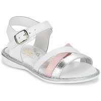 Παπούτσια Κορίτσι Σανδάλια / Πέδιλα Citrouille et Compagnie IZOEGL Άσπρο / Argenté / Ροζ