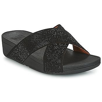 Παπούτσια Γυναίκα Τσόκαρα FitFlop CRYSTAL II SLIDE SANDALS Black