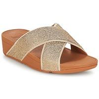 Παπούτσια Γυναίκα Τσόκαρα FitFlop CRYSTAL II SLIDE SANDALS Gold