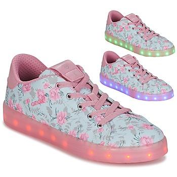 Παπούτσια Κορίτσι Χαμηλά Sneakers Geox J KOMMODOR G. B Μπλέ / Ροζ