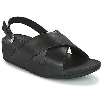 Παπούτσια Γυναίκα Σανδάλια / Πέδιλα FitFlop LULU CROSS BACK-STRAP SANDALS - LEATHER Μαυρο