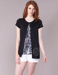 Υφασμάτινα Γυναίκα T-shirt με κοντά μανίκια Desigual NUTILAD Black