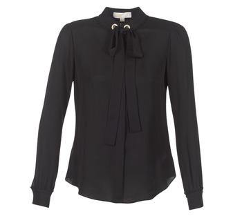Υφασμάτινα Γυναίκα Μπλούζες MICHAEL Michael Kors GROMMET NK TIE BLSE Black