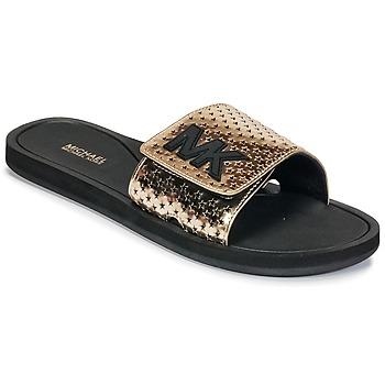 Παπούτσια Γυναίκα σαγιονάρες MICHAEL Michael Kors MK SLIDE Black / Gold