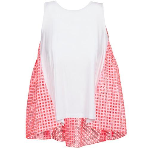 Υφασμάτινα Γυναίκα Αμάνικα / T-shirts χωρίς μανίκια Manoush AJOURE CARRE Άσπρο / Ροζ