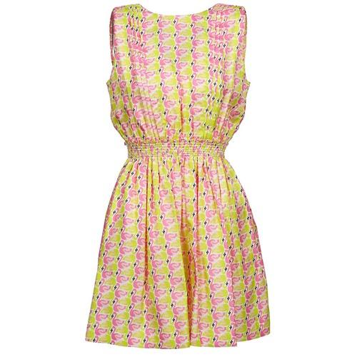 Υφασμάτινα Γυναίκα Κοντά Φορέματα Manoush FLAMINGO Ροζ / Fluo / Yellow