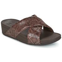 Παπούτσια Γυναίκα Τσόκαρα FitFlop SWOOP SLIDE Σοκολά