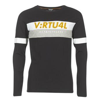 Υφασμάτινα Άνδρας Μπλουζάκια με μακριά μανίκια Jack & Jones JCOACE-TEE-LS-CREW-NECK Black