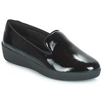 Παπούτσια Γυναίκα Μοκασσίνια FitFlop AUDREY SMOKING SLIPPERS CRINKLE PATENT Black