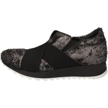 Παπούτσια Γυναίκα Χαμηλά Sneakers Andia Fora sneakers argento tessuto nero pelle AD326 Nero