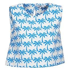 Υφασμάτινα Γυναίκα Αμάνικα / T-shirts χωρίς μανίκια Suncoo LANA Άσπρο / Μπλέ