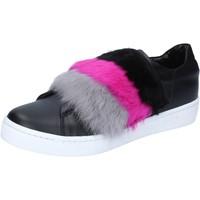 Παπούτσια Γυναίκα Sneakers Islo sneakers nero pelle pelliccia BZ213 Nero