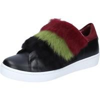 Παπούτσια Γυναίκα Sneakers Islo sneakers nero pelle pelliccia bordeaux BZ214 Nero