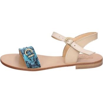 Παπούτσια Γυναίκα Σανδάλια / Πέδιλα Calpierre sandali verde pelle marrone BZ837 Multicolore