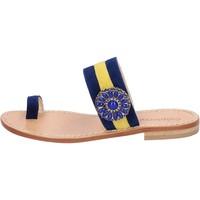 Παπούτσια Γυναίκα Σανδάλια / Πέδιλα Calpierre sandali blu camoscio giallo BZ841 Multicolore