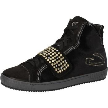 Ψηλά Sneakers Guardiani sneakers nero velluto camoscio strass AE827