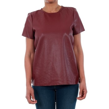 T-shirt με κοντά μανίκια Vero Moda 10188470 VMRINA LACE BUTTER S/S TOP LCS ZINFANDEL [COMPOSITION_COMPLETE]