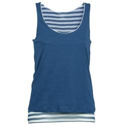 Υφασμάτινα Γυναίκα Αμάνικα / T-shirts χωρίς μανίκια Majestic BLANDINE Marine / Άσπρο