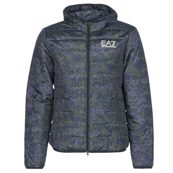 Υφασμάτινα Άνδρας Μπουφάν Emporio Armani EA7 TRAIN GRAPHIC SERIES M JACKET HOODIE ALL OVER CAMOU Kaki / Μπλέ