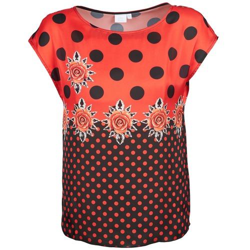 Υφασμάτινα Γυναίκα T-shirt με κοντά μανίκια Alba Moda BETTINA Red / Black